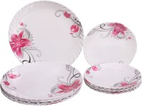 Sony Crazy Floral Trendy Dinner And Snacks Combo Printed Melamine Plate Set (Pink, White, Pack Of 12)