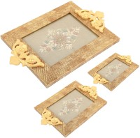 Aaina Home Decor Ethnic Embossed Wood, Glass Tray Set (Gold, Beige, Pack Of 3)