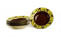 Caffeine Handmade Round Soup Artistic Brown Pattern Engraved Ceramic Plate Set (Brown, Pack Of 6)