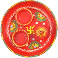 Alphaman Colorful Traditional Swastik Stainless Steel, Ceramic Pooja & Thali Set 1 Pieces, Red