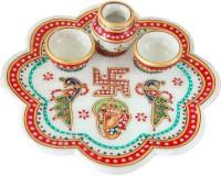 Villcart With Two Diya and Kalash Marble Pooja & Thali Set: Pooja Thali Set