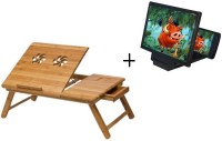 IBS Wooden Adjustable Kids Study Bedmate Tablemate With 3d Screen Enlarge Without Cooling Fan Bed Mate Solid Wood Portable Laptop Table (Finish Color - BROWN)