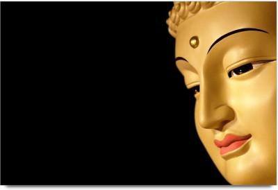 ShopMantra Posters Buddha Golden Statue Minimal Design Laminated Poster Paper Print