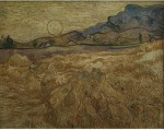 """Engrave Posters Wheat Field with Reaper and Sun by Van Gogh 30""""x24"""" Canvas Art"""