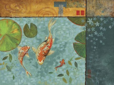 Koi pond serenity ii fine art print studio voltaire for Koi pond india