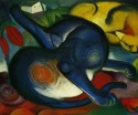 Two Blue And Yellow Cats By Franz Marc Fine Art Print - Medium