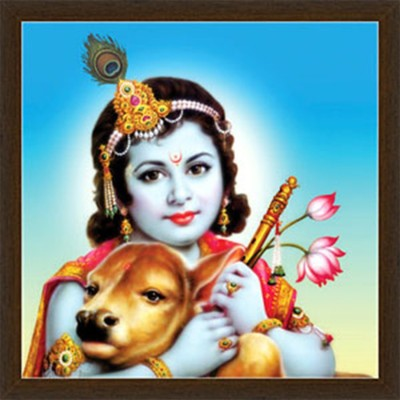 Luxaim Posters Bal Gopal With Cow Frame By Returnfavors Canvas Art