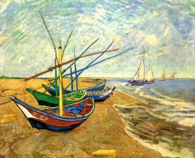 Fishing Boats On The Beach At Saintes-Maries Medium By Van Gogh Fine Art Print - Medium