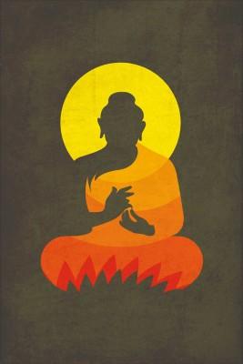 Buddha On Lotus Silhouette Paper Print Minimal Art