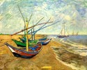 Fishing Boats On The Beach At Saintes-Maries Medium By Van Gogh Canvas - Medium