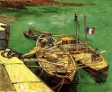 Quay With Men Unloading Sand Barges Small By Van Gogh Fine Art Print - Small