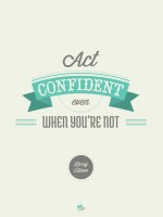When Act Confident Even When You're Not! - Larry Ellison, Oracle Poster Paper Print (Blue)