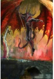 ArtzFolio Girl Fighting Devil Premium Poster Paper Print