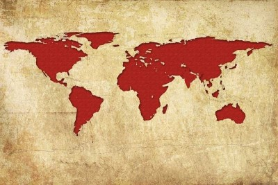 World map red paper print for rs 449 at flipkart gumiabroncs Image collections