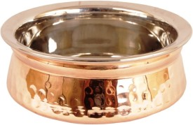 "Indian Art Villa 2.1"" X 5.0"" X 2.0"" Royal Handmade High Quality Stainless Steel Copper Dish Serving Indian Food Handi Handi 0.5 L"