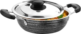 KD22 Stainless Steel with Lid Kadhai (1.2 L)