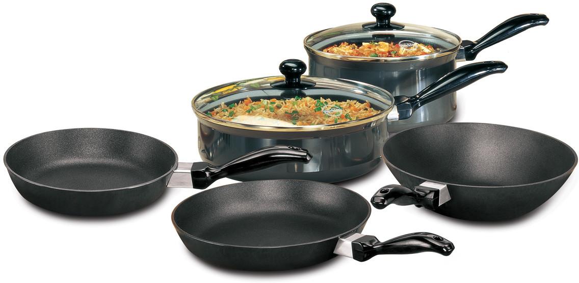 Hawkins futura cookware set pot kadhai pan set price in for Kitchen set on flipkart
