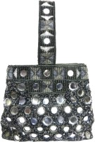 KAWAII GREY GLASS BEADED CLUTCH HAND BAG Potli GREY