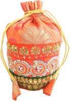 Giftpiper Brocade & Embroidered Lace Potli Orange