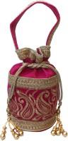 Bhamini Bhamini Royal Raw Silk Batwa (Pink) Potli Pink - 01