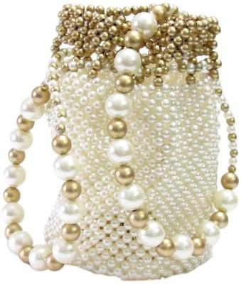 Laviva Marvelous Golden & White Beads Crafted Potli Bag Potli White