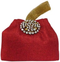 Laviva Ethnic Red Colored Jute Potli Bag By Laviva Potli Red