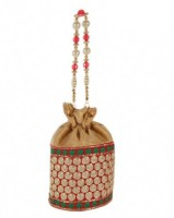 Bag Berry Polka Dot Potli - Golden