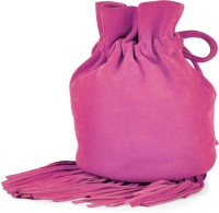 Paint Genuine Leather Small Fringes Potli Bag Potli Fuschia Pink