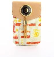 LadyBugBag Designer Cream Jute Mobile Pouch Cream