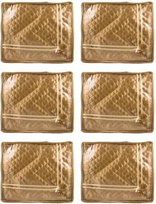 Annapurna Sales Golden Small Satin Saree Cover - Set Of 6 Pcs. Pouch Golden