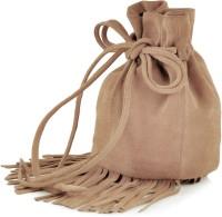 Paint Genuine Leather Small Fringes Potli Bag Potli Nude