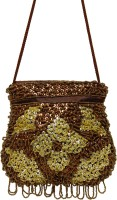 Galz4ever Fabric Satin Brawn & Gold Hand Bag Potli Brown