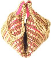 GiftPiper Handmade Satin Beadwork Potli Bag- Pink Potli Pink