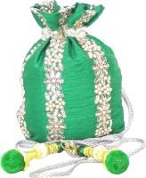 GiftPiper Raw Silk Potli- Green Potli Green