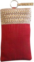 Bhamini Raw Silk With Pearl And Rose Gold Sequinned Lace Mobile Pouch (Maroon-01)
