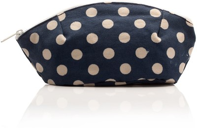 Voylla Navy Blue Cotton Zip with Polka Dot Pattern Pouch Blue and Beige
