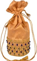 Nonch Le Hand Work Women Beige And Blue Stone Collection Potli Beige