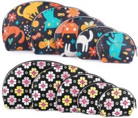 Uberlyfe Black Kitten Motif And Black Floral Print Multipurpose Pouch Multicolor