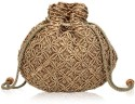 Oleva Matka Beads Sequins Pouch - Brown