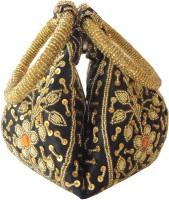 GiftPiper Handmade Potli Bag With Zardozi Work- Black Potli Black