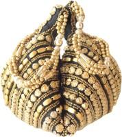 Giftpiper Handmade Satin Beadwork Potli Bag- Black Potli Black