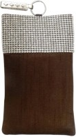 Bhamini Raw Silk With Diamond Lace Mobile Pouch - Brown-01