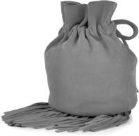Paint Genuine Leather Small Fringes Potli Bag Potli Cloud Grey