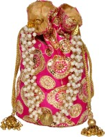 Glitter Accessories Pink And Golden Potli Pink