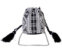 Diwaah Hand Embroided White Beaded & Sequenced Bag Potli Multicolor