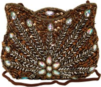 Galz4ever Fabric Satin Brawn Hand Bag Potli Brown