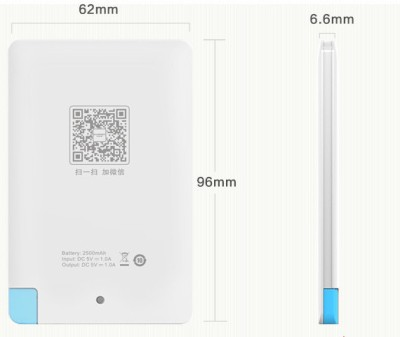Merlin 2500mAh Slim Card Power Bank