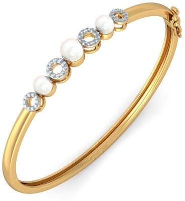 BlueStone The Cleodora Bangle Yellow Gold 14kt Diamond, Pearl Bangle