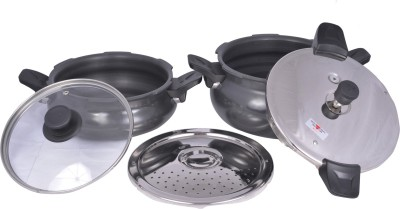 Pigeon All In One Super Value Pack 3 L, 5 L Pressure Cooker (Induction Bottom, Aluminium)