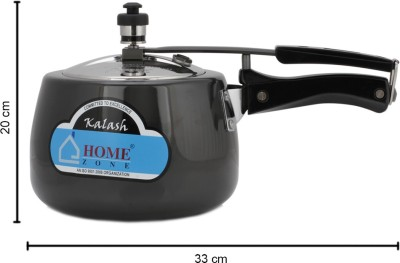 Home Zone Hard Annodised Pressure Kalash Cooker Inner Lid with Stainless Steel Lid 3 L Pressure Cooker (Induction Bottom, Aluminium)